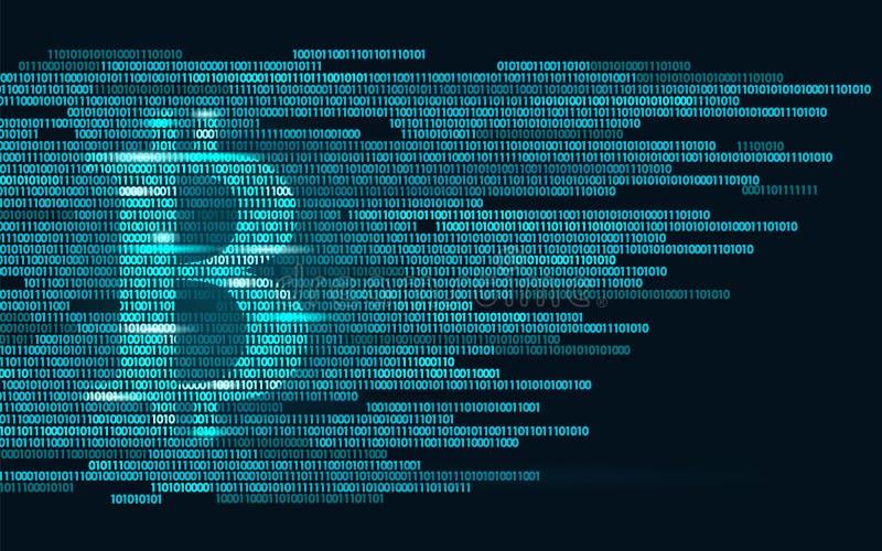 Bitcoin数字式cryptocurrency标志二进制编码数字 大数据信息采矿工艺学 发光的蓝色抽象 向量例证