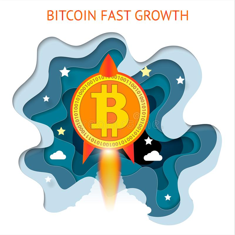 Bitcoin是迅速发展的 Cryptocurrency财政系统增长 向量例证