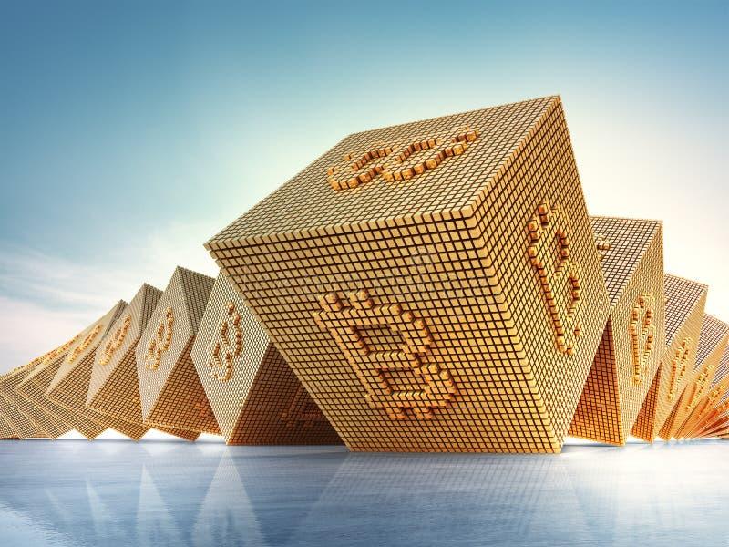 Bitcoin标志在blockchain技术和cryptocurrency概念 抽象背景3D例证 皇族释放例证