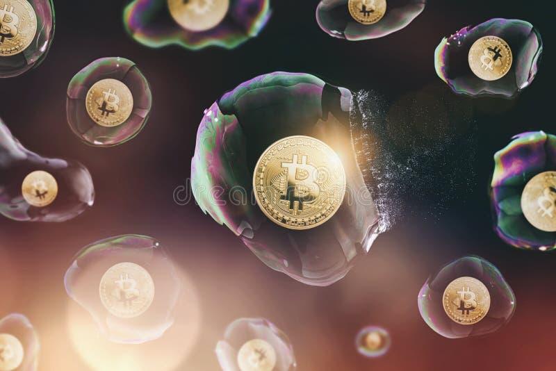 Bitcoin泡影破裂了-数字式cryptocurrency概念图象 免版税库存图片