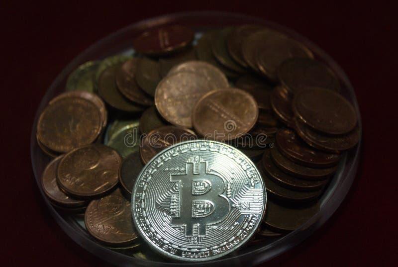 bitcoin的特写镜头 库存照片