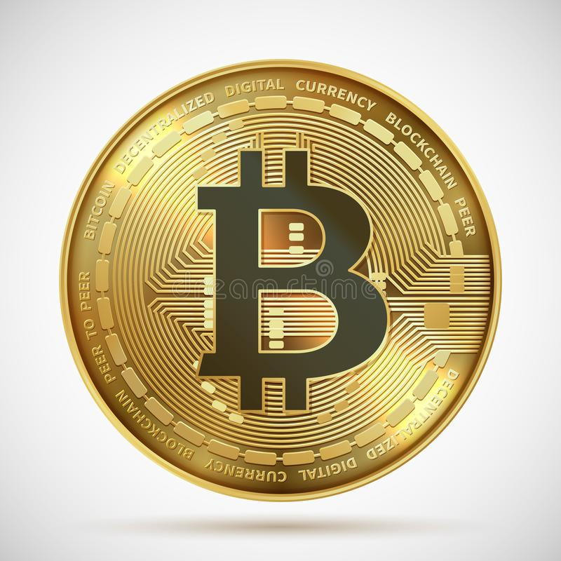 Bitcoin硬币 在白色隔绝的Cryptocurrency金黄金钱数字blockchain标志 传染媒介隐藏硬币 库存例证
