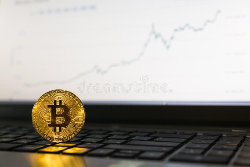 Bitcoin站立在有上升的图的膝上型计算机键盘的cryptocurrency硬币在背景 库存图片