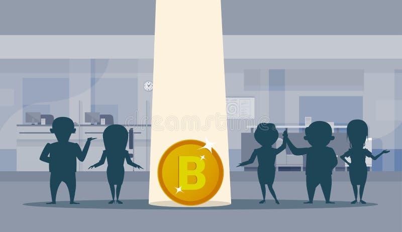 Bitcoin签署剪影商人小组办公室内部背景隐藏货币技术概念 向量例证