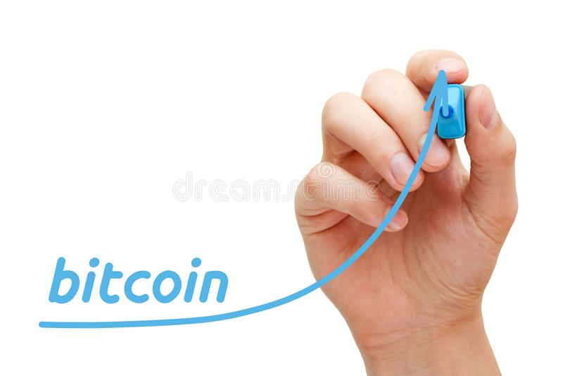 Bitcoin箭头概念 图库摄影