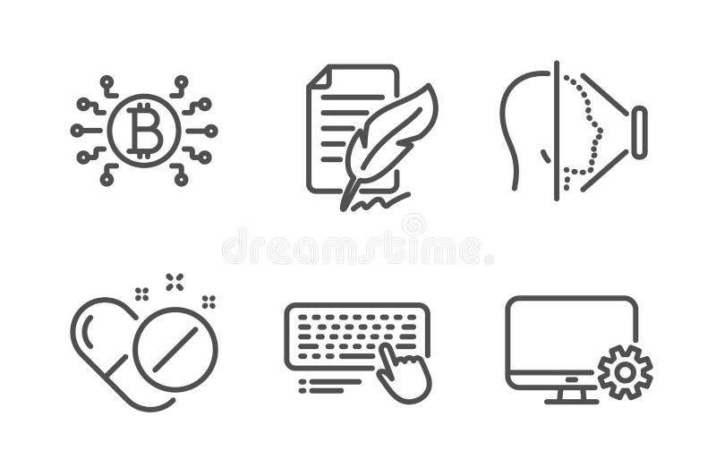 Bitcoin系统、面孔id和键盘象集合 ?? 皇族释放例证