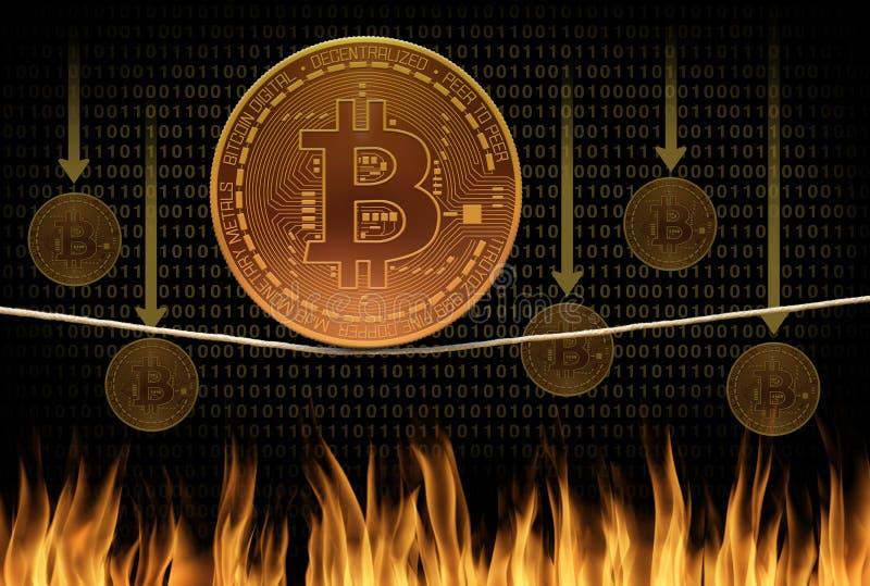Bitcoin绳索平衡操作崩溃和烧伤下跌的价值场面作为bitcoins落入火在背景中 免版税库存图片