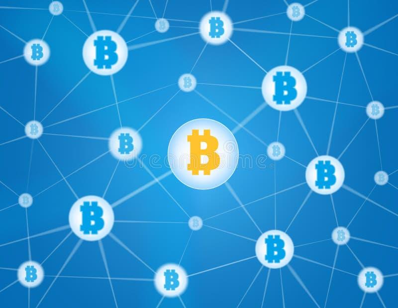 Bitcoin网络蓝色背景 库存例证
