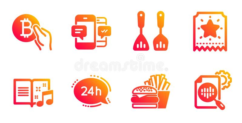 Bitcoin薪水、乐谱和汉堡象集合 24h服务,智能手机sms和烹调利器标志 ?? 库存例证