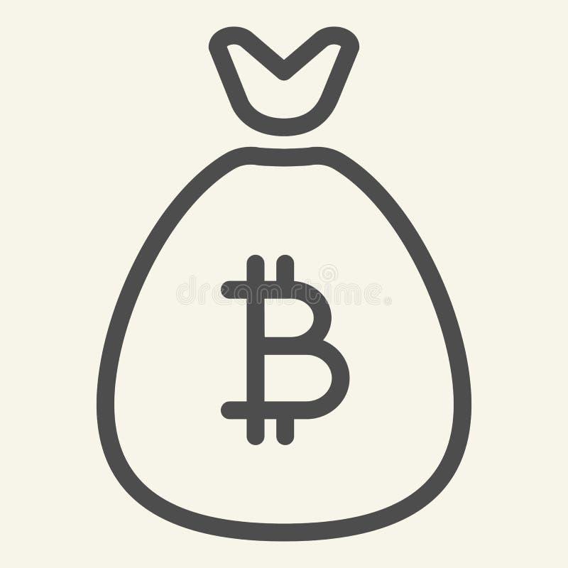 Bitcoin袋子线象 Cryptocurrency储款在白色隔绝的传染媒介例证 隐藏金钱袋子概述样式 向量例证