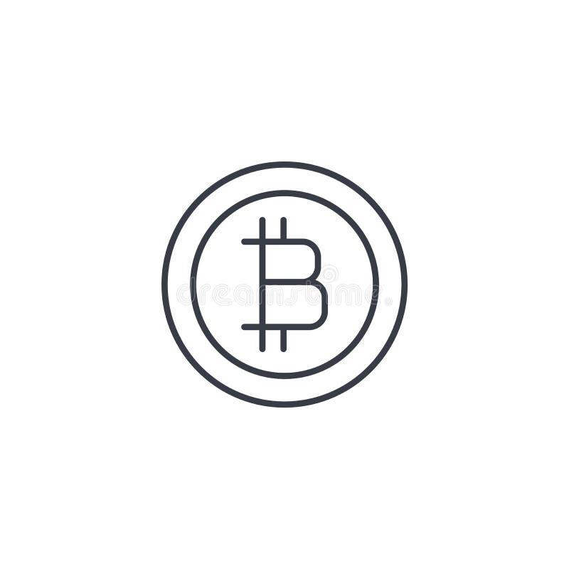 Bitcoin货币、数字式付款硬币、互联网银行业务、财务和金钱稀薄的线象 线性传染媒介标志 皇族释放例证