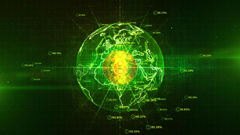 Bitcoin货币符数字网际空间、企业和技术网络概念 向量例证