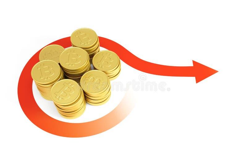 bitcoin货币,3d成长回报 库存例证