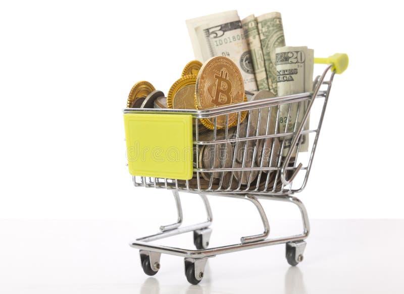 Bitcoin购物车 库存照片