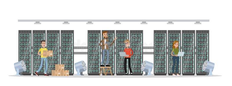 Bitcoin采矿中心 库存例证