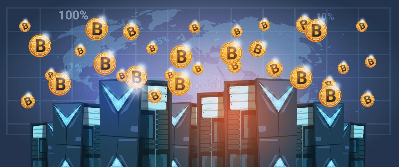 Bitcoin采矿农厂在世界地图数字式隐藏货币现代网金钱的数据中心 库存例证