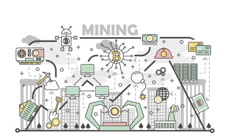 Bitcoin采矿概念在平的线性样式的传染媒介例证 库存例证