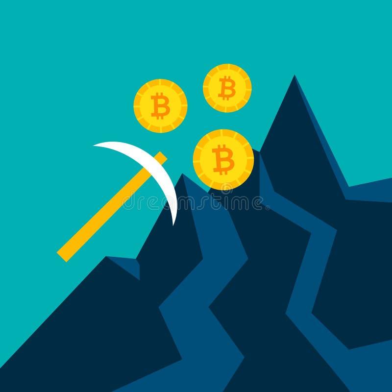 Bitcoin采矿镐概念 皇族释放例证