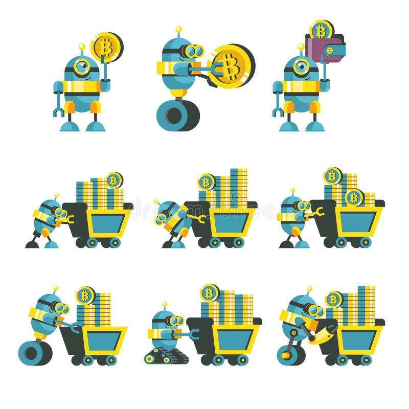 Bitcoin采矿 逗人喜爱的机器人导致bitcoins 向量Illustratio 向量例证