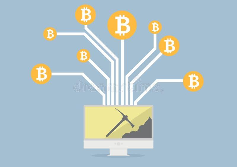 Bitcoin采矿 向量例证