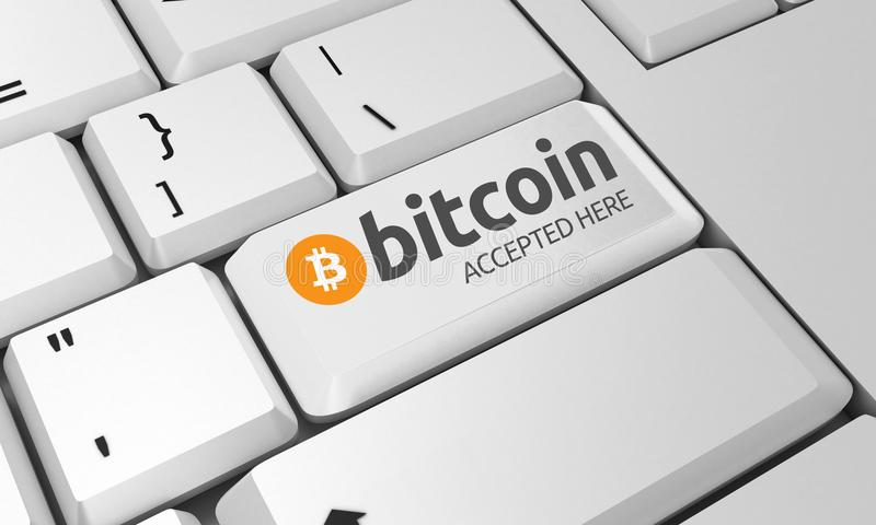 Bitcoin键盘 Bitcoin标志 3d回报 库存照片