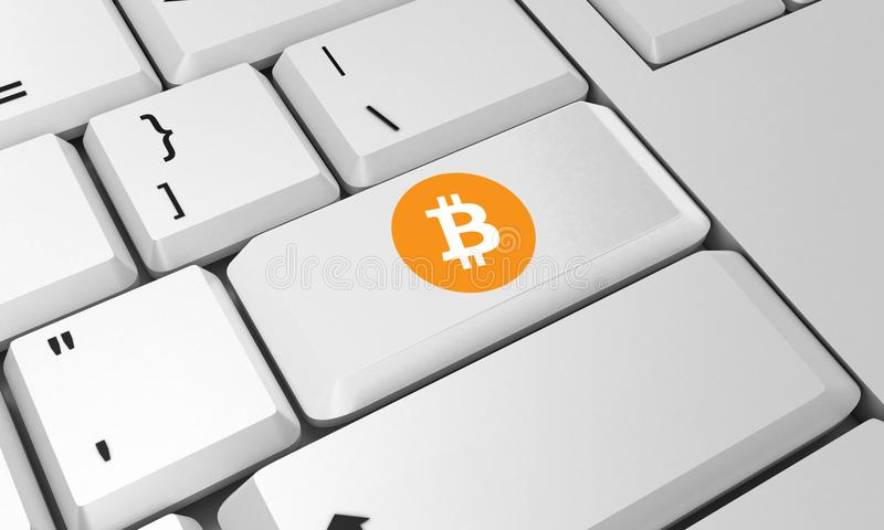 Bitcoin键盘 Bitcoin标志 3d回报 免版税图库摄影