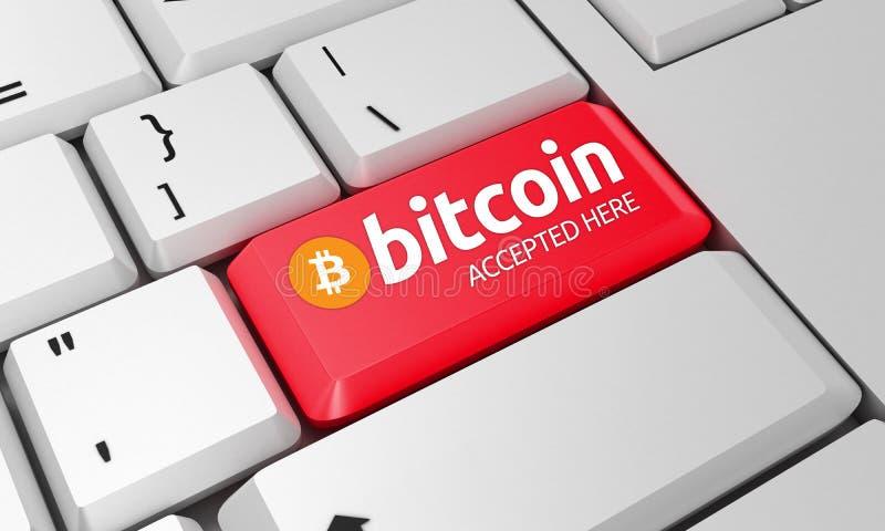 Bitcoin键盘 Bitcoin标志 3d回报 免版税库存图片
