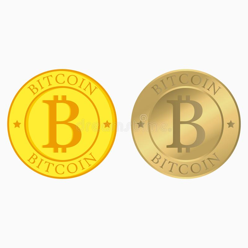 Bitcoin集合 与平和现实金币的Cryptocurrency汇集 互联网金钱 向量 库存例证