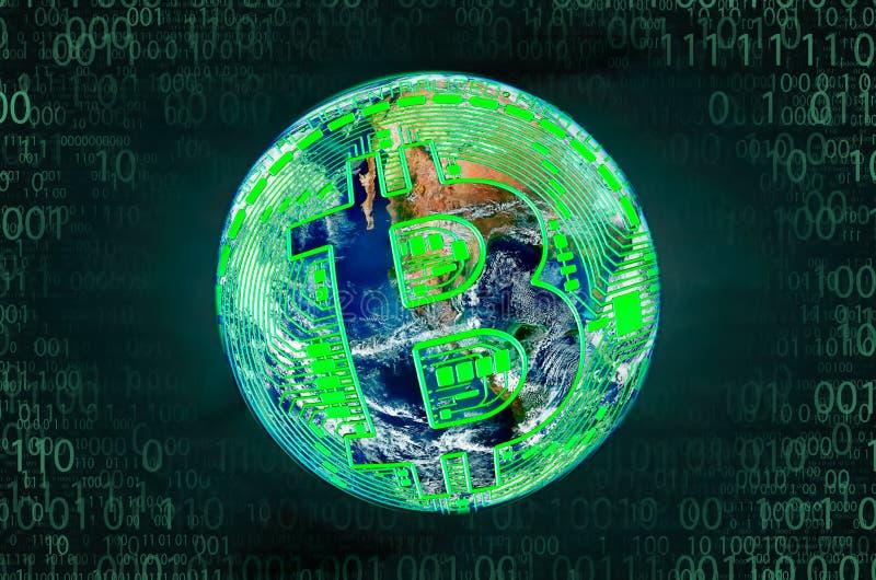 Bitcoin,全世界互联网收入的概念 库存照片