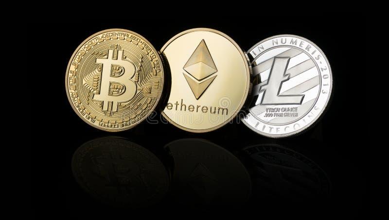 Bitcoin, Ethereum, Litecoin cryptocurrency,数字式金钱 库存照片