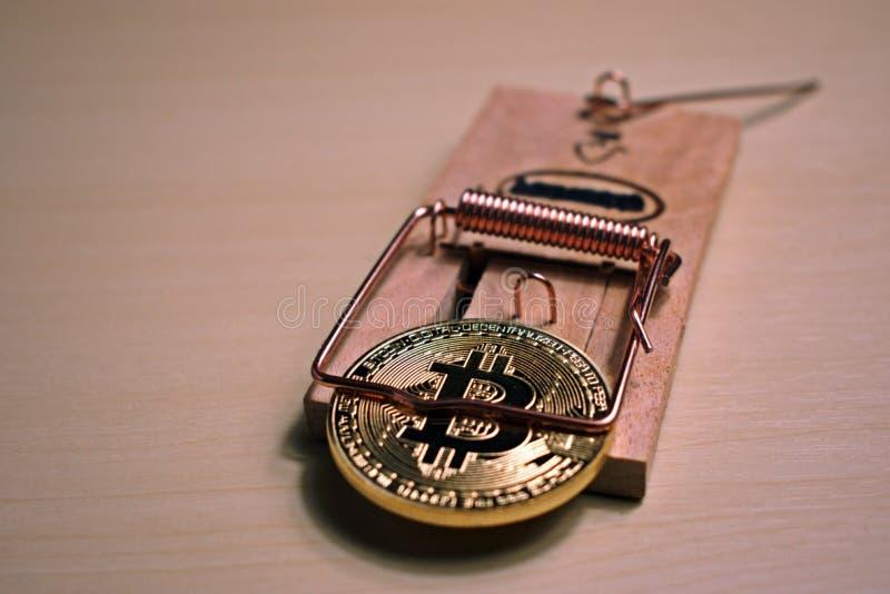 Bitcoin är i en råttfälla royaltyfri foto