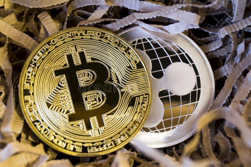 Bitcoin è un modo moderno dello scambio e di questa valuta cripto fotografia stock