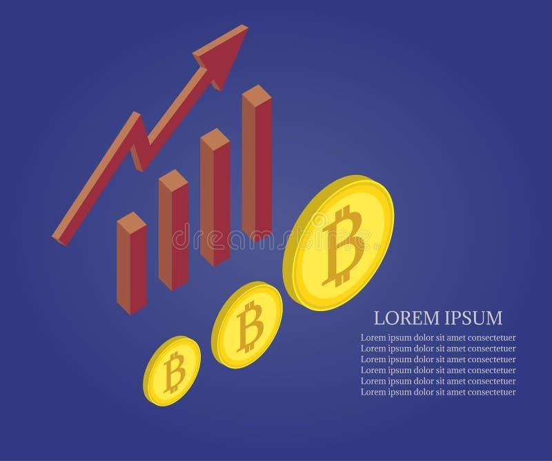 Bitcoin, échelle de croissance illustration de vecteur