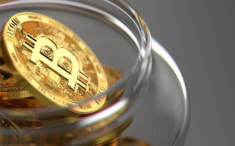 Bitcoin σε ένα βάζο στο μουτζουρωμένο πυροβολισμό κινηματογραφήσεων σε πρώτο πλάνο αναμμένο από τον ήλιο Καλύτερη έννοια αποθήκευ απεικόνιση αποθεμάτων
