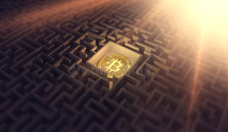 Bitcoin που βάζει στο σκοτεινό λαβύρινθο Εύρεση της λύσης και της συμφωνίας για τα προβλήματα γύρω από τα cryptocurrencies τρισδι ελεύθερη απεικόνιση δικαιώματος