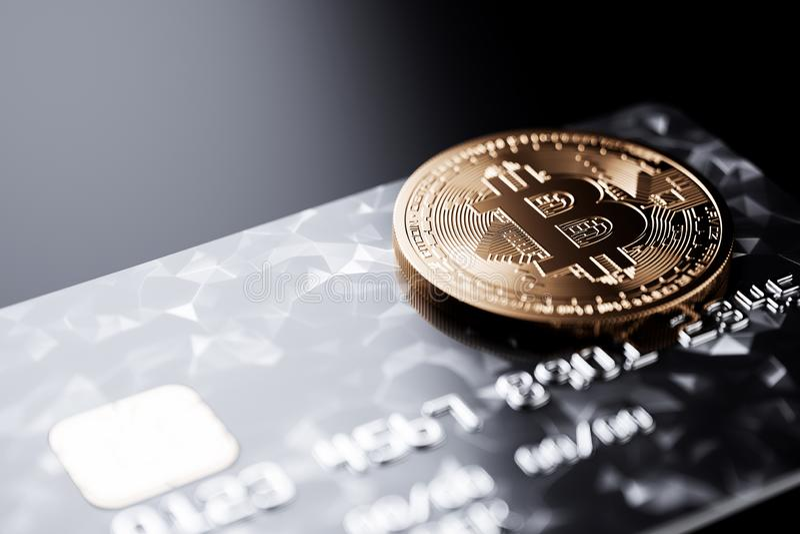 Bitcoin с кредитной карточкой на черной предпосылке таблицы иллюстрация штока