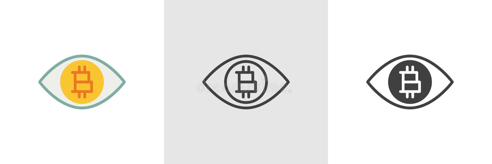 Bitcoin ögonsymbol stock illustrationer