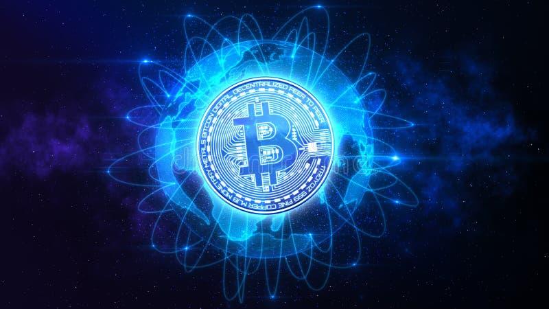 Bitcoin över världen royaltyfria foton