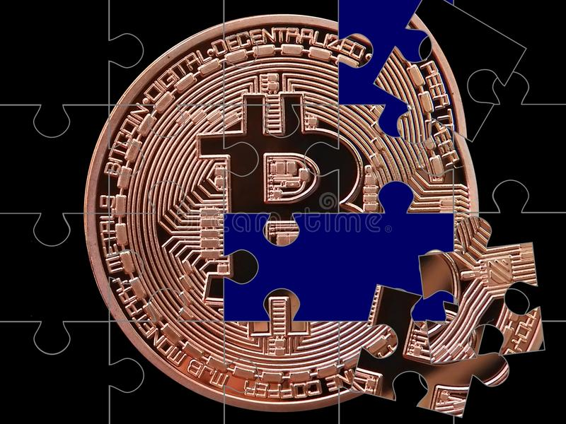 Bitcoin łamigłówka ilustracji