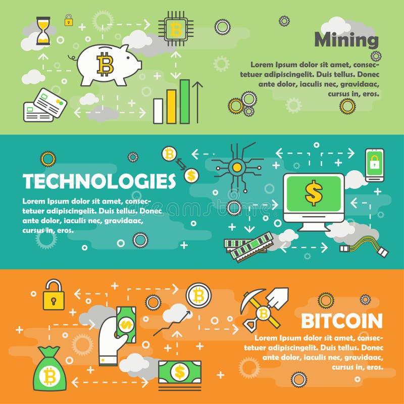 Bitcoin έννοιας διανυσματικό σύγχρονο λεπτό σύνολο εμβλημάτων σχεδίου γραμμών επίπεδο διανυσματική απεικόνιση