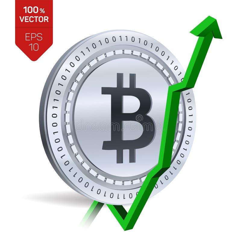 Bitcoin ανάπτυξη πράσινος επάνω βελών Η εκτίμηση δεικτών Bitcoin ανεβαίνει στην αγορά ανταλλαγής Crypto νόμισμα τρισδιάστατο isom ελεύθερη απεικόνιση δικαιώματος
