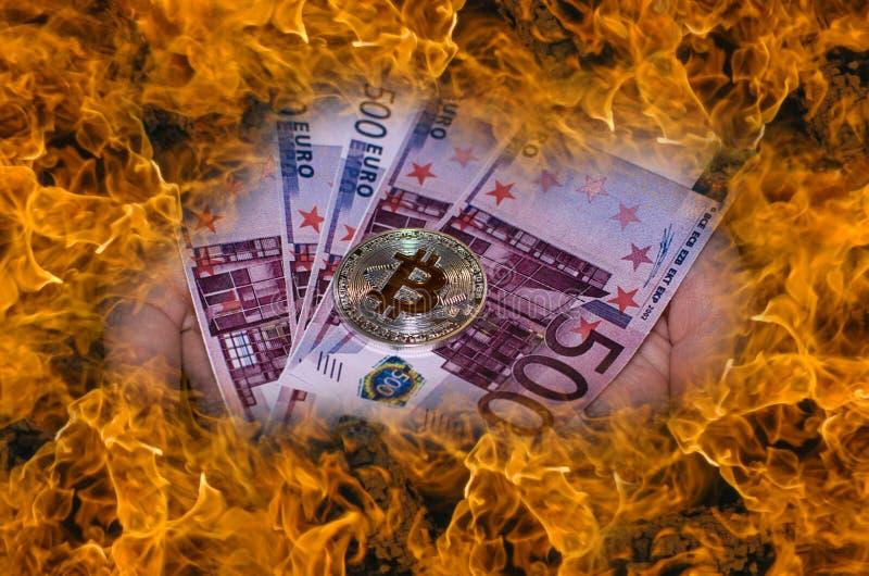 Bitcoin εναντίον Ευρο- στοκ φωτογραφία με δικαίωμα ελεύθερης χρήσης
