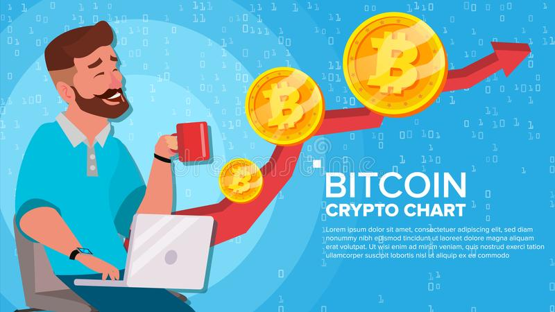 Bitcoin επάνω στην τάση, διάνυσμα έννοιας αύξησης Εμπορικό διάγραμμα Εικονικός επενδυτής ατόμων χρημάτων ευτυχής Crypto έννοια αγ ελεύθερη απεικόνιση δικαιώματος