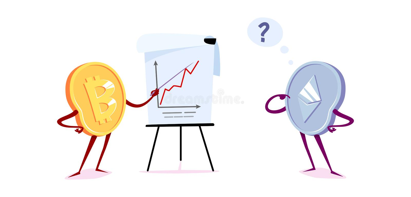 Bitcoin και etherum με ένα flipchart απεικόνιση αποθεμάτων
