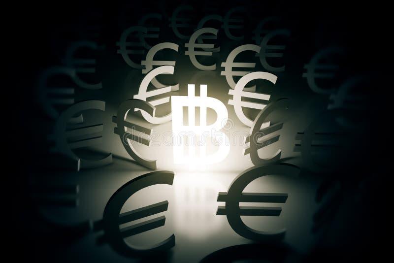 Bitcoin με τα ευρο- σημάδια γύρω απεικόνιση αποθεμάτων