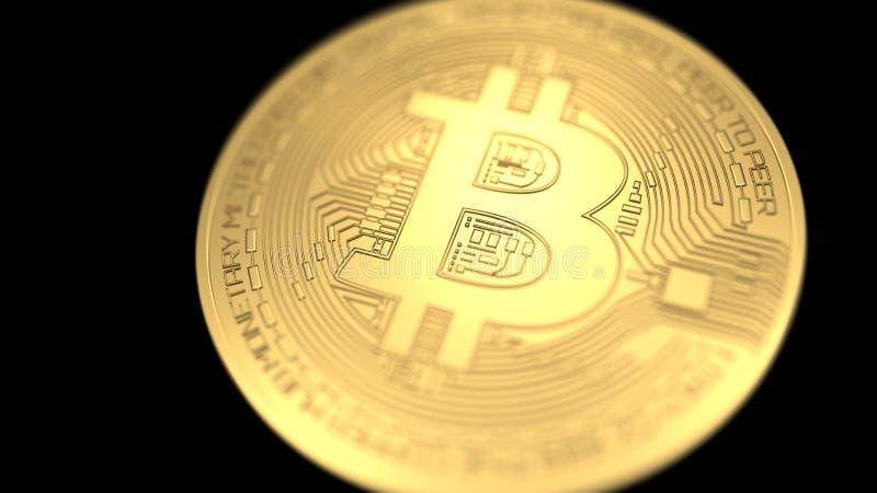 Bitcoin που απομονώνεται στο μαύρο υπόβαθρο τρισδιάστατη απεικόνιση διανυσματική απεικόνιση