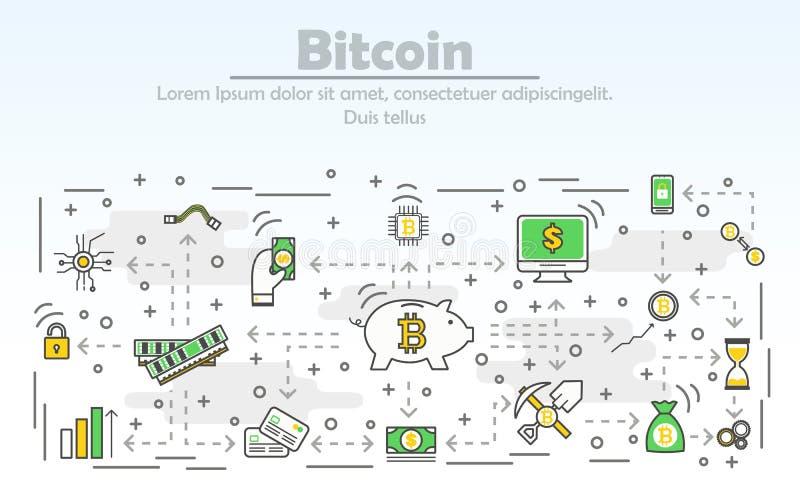 Bitcoin που διαφημίζει τη διανυσματική σύγχρονη λεπτή απεικόνιση σχεδίου γραμμών επίπεδη ελεύθερη απεικόνιση δικαιώματος