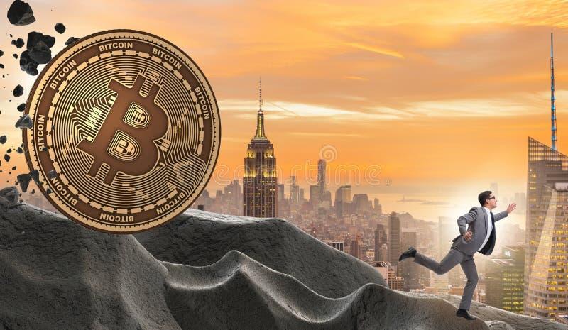Bitcoin που χαράζει τον επιχειρηματία στην έννοια cryptocurrency blockchain στοκ εικόνα με δικαίωμα ελεύθερης χρήσης