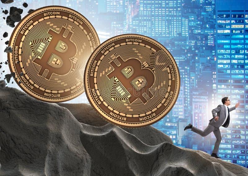 Bitcoin που χαράζει τον επιχειρηματία στην έννοια cryptocurrency blockchain στοκ εικόνες
