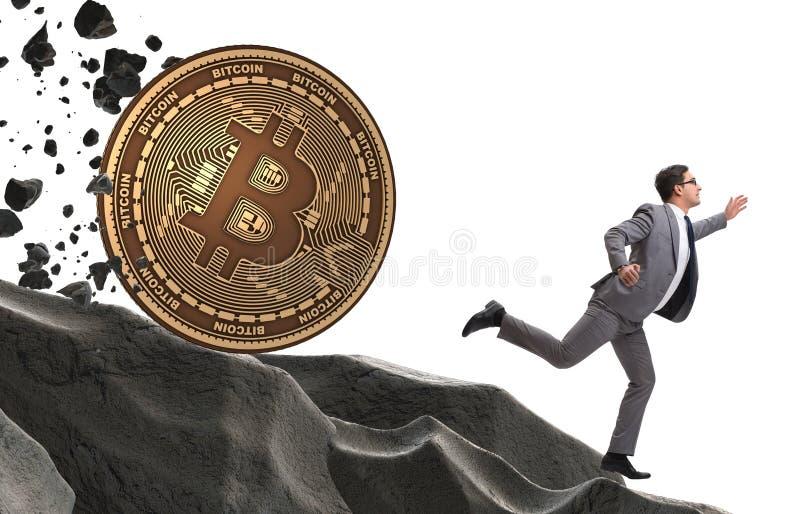 Bitcoin που χαράζει τον επιχειρηματία στην έννοια cryptocurrency blockchain στοκ φωτογραφία με δικαίωμα ελεύθερης χρήσης